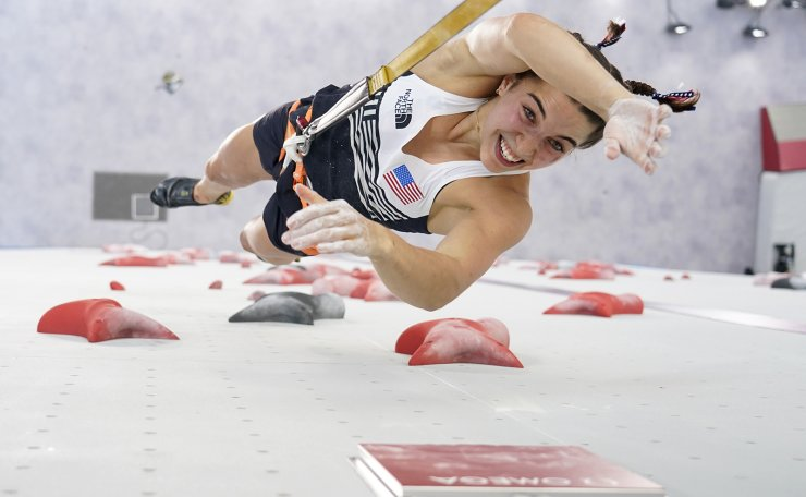 Brooke Raboutou, of the United States, competes during the speed portion of the women's sport climbing final at the 2020 Summer Olympics, Friday, Aug. 6, 2021, in Tokyo, Japan. AP