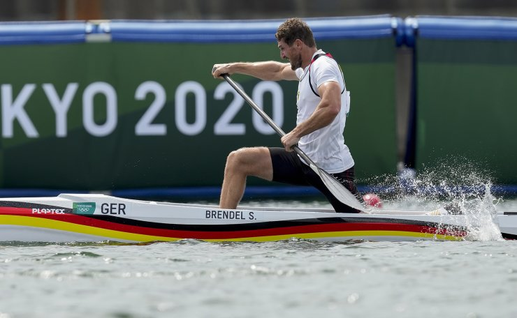 Sebastian Brendel of Germany competes in the men's canoe single 1000m semifinal at the 2020 Summer Olympics, Saturday, Aug. 7, 2021, in Tokyo, Japan. AP