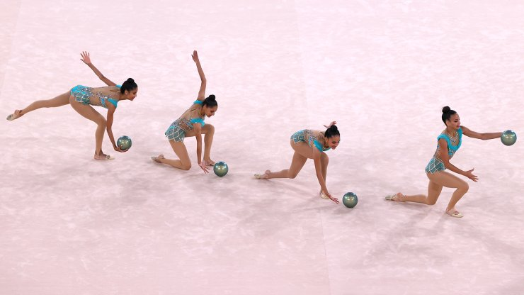 Tokyo 2020 Olympics - Gymnastics - Rhythmic - Group All-Around - Qualification - Ariake Gymnastics Centre, Tokyo, Japan - August 7, 2021. Team Egypt in action with balls during competing. REUTERS