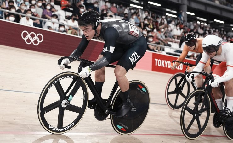 Sam Webster of Team New Zealand competes during the track cycling men's keirin race at the 2020 Summer Olympics, Saturday, Aug. 7, 2021, in Izu, Japan. AP