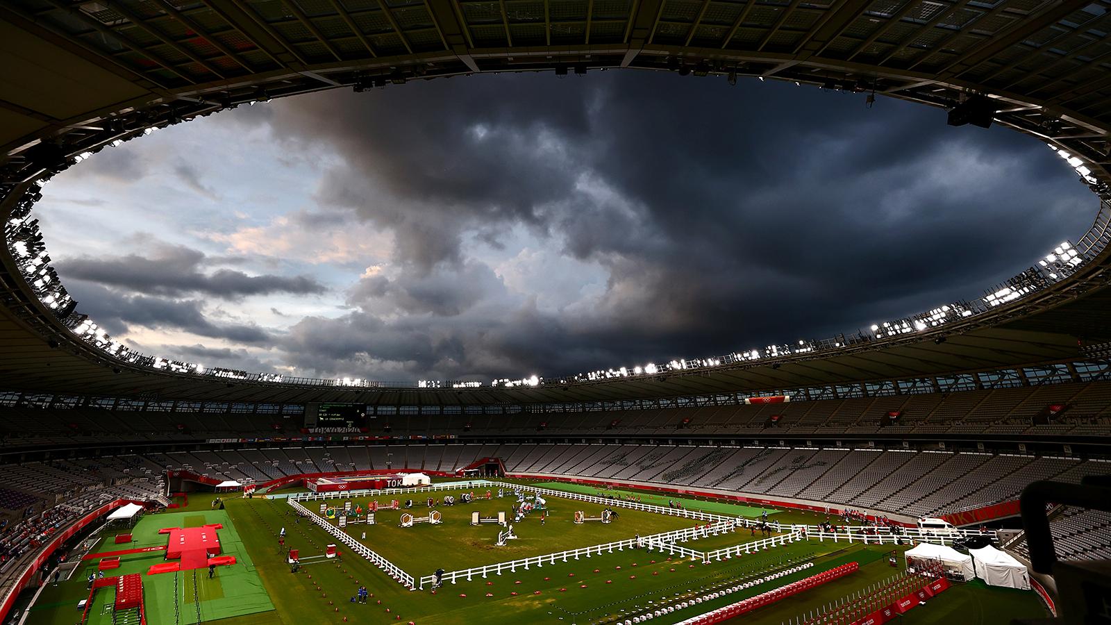 Tokyo 2020 Olympics - Modern Pentathlon - Men's Riding - Tokyo Stadium - Tokyo, Japan - August 7, 2021. General view inside Tokyo Stadium. REUTERS