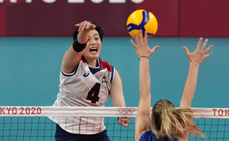 Korea's Kim Heejin spikes the ball while playing Serbia during the bronze medal match in women's volleyball at the 2020 Summer Olympics, Sunday, Aug. 8, 2021, in Tokyo, Japan. AP