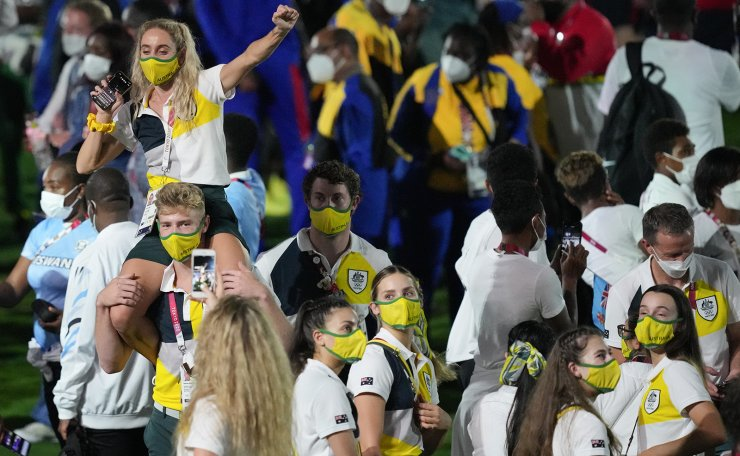 Athletes from Australia enter the closing ceremony in the Olympic Stadium at the 2020 Summer Olympics, Sunday, Aug. 8, 2021, in Tokyo, Japan. AP