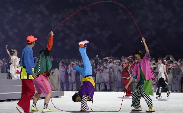 Dancers perform during the closing ceremony in the Olympic Stadium at the 2020 Summer Olympics, Sunday, Aug. 8, 2021, in Tokyo, Japan. AP