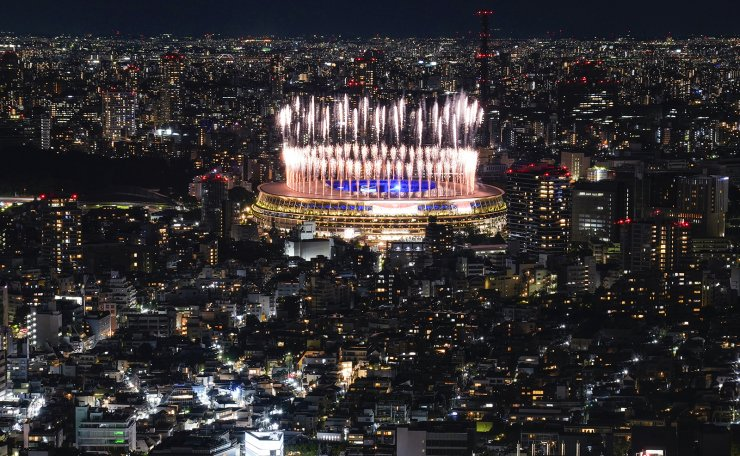 Fireworks illuminate over National Stadium during the closing ceremony of the 2020 Tokyo Olympics, Sunday, Aug. 8, 2021, in Tokyo. AP