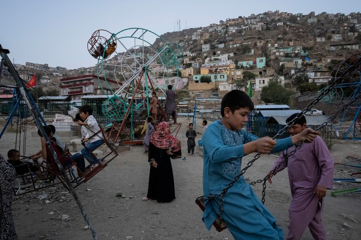 Children play at a park in Kabul, Afghanistan, Friday, Sept. 10, 2021. AP