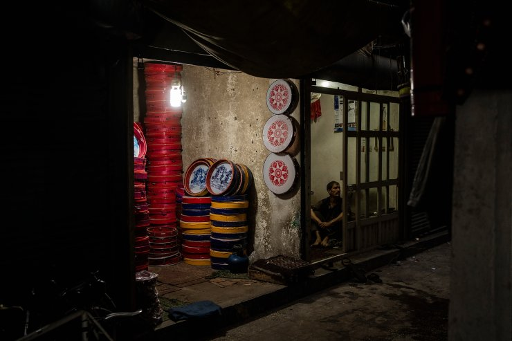 Dairas, or tambourines, piled up in a shop in Kabul's Old City, Afghanistan, Tuesday, Sept. 14, 2021. AP