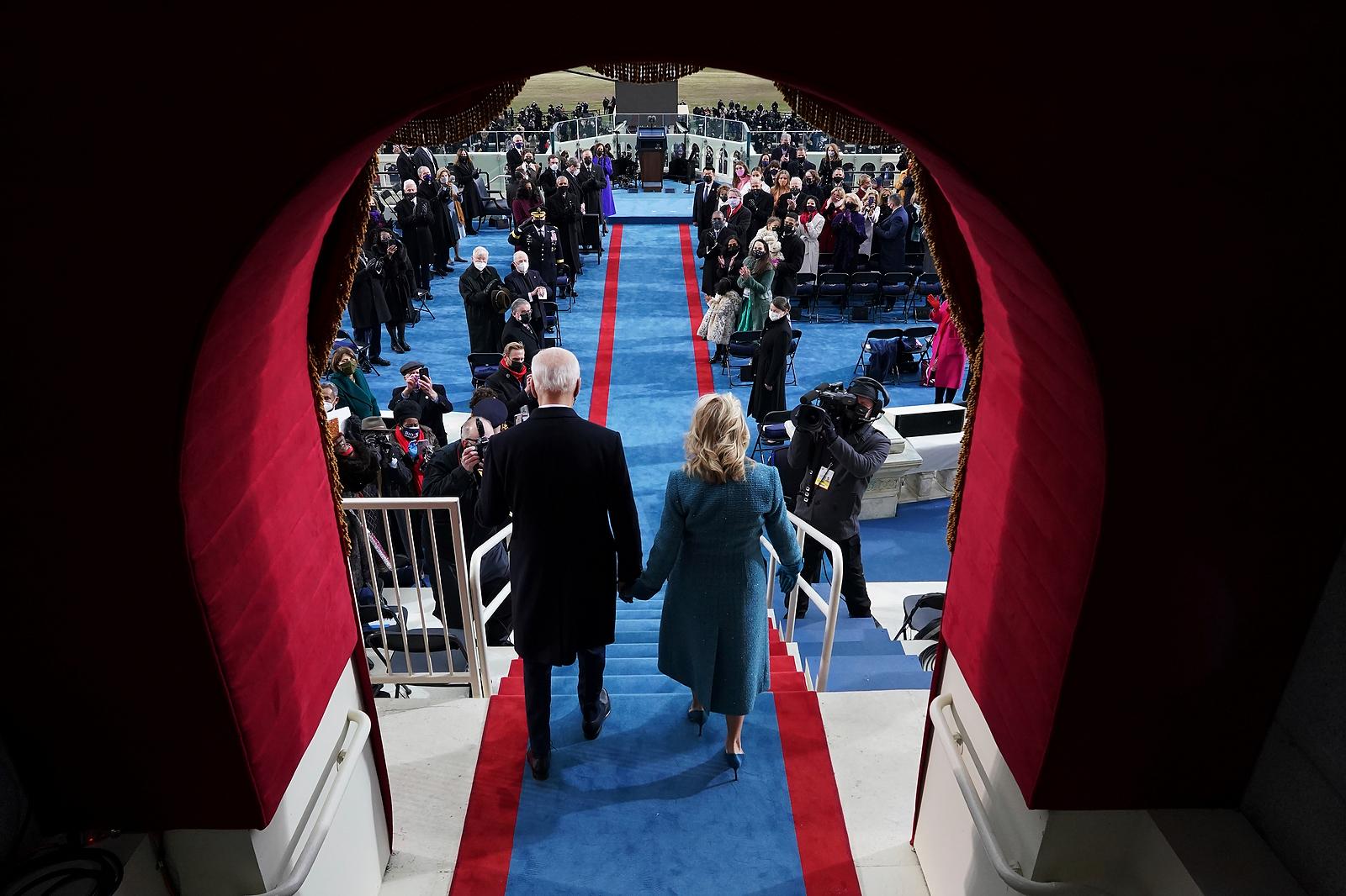President-elect Joe Biden's and Dr. Jill Biden arrive his inauguration at the U.S. Capitol in Washington, Wednesday, Jan. 20, 2021. AP