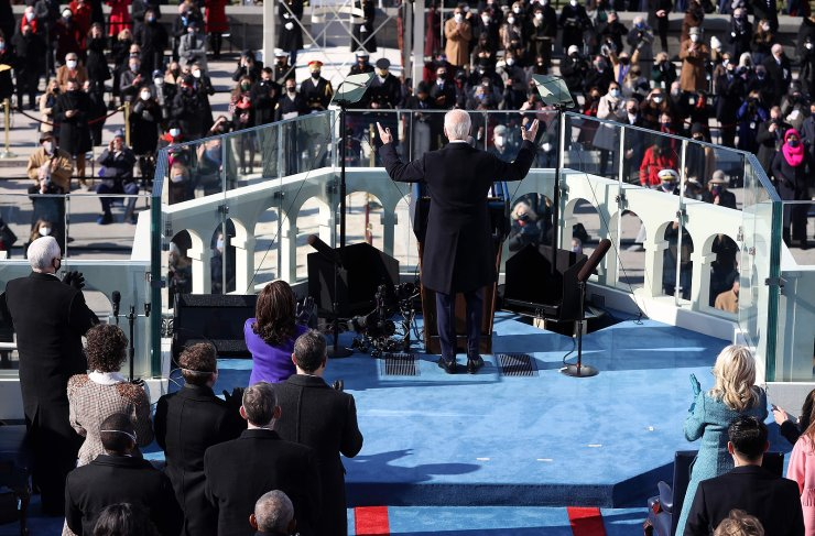 US President Joe Biden delivers his inauguration speech after being sworn in as the 46th President of the US on January 20, 2021, at the US Capitol in Washington, DC. AFP