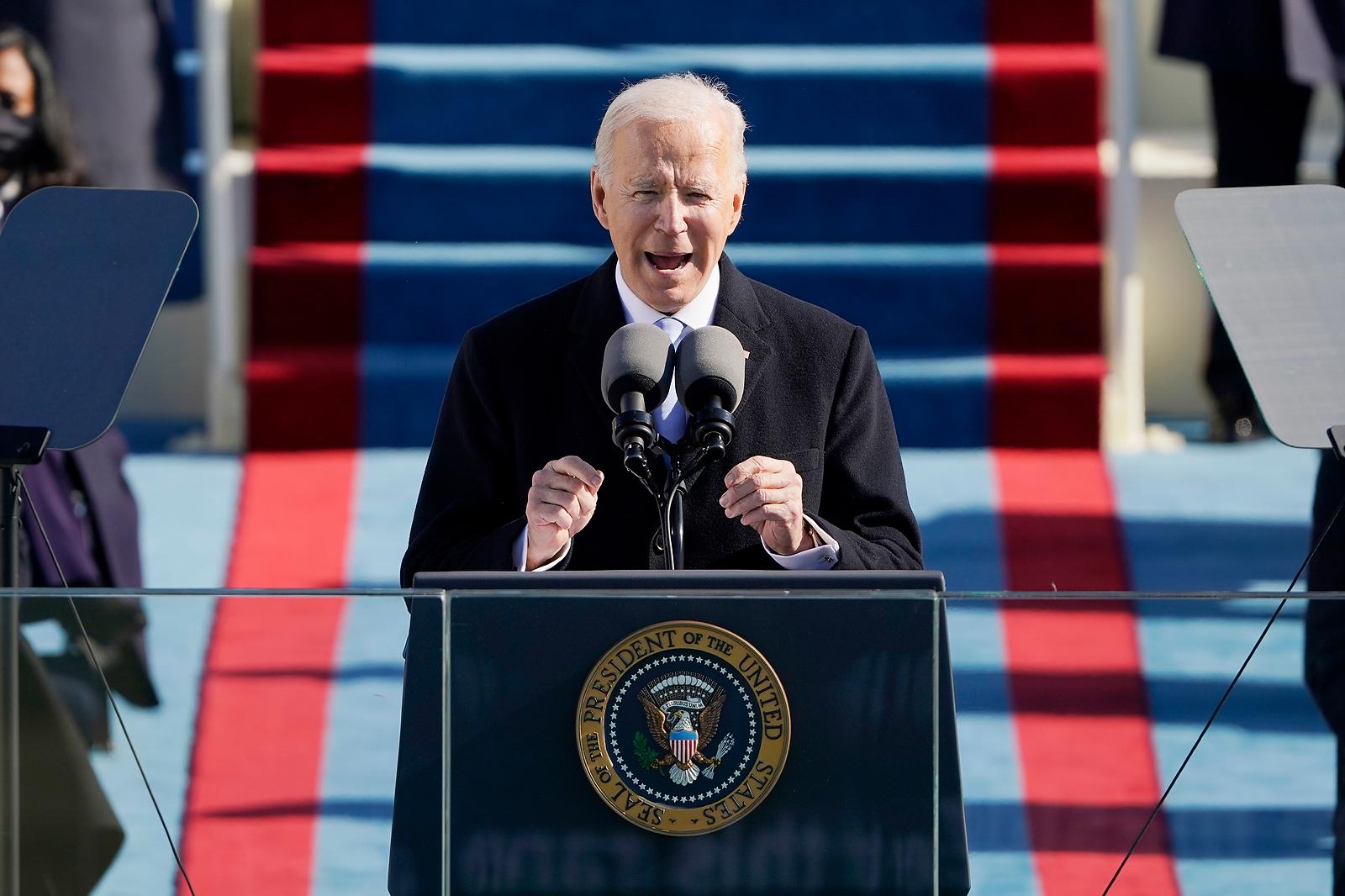 President Joe Biden speaks during the 59th Presidential Inauguration at the U.S. Capitol in Washington, Wednesday, Jan. 20, 2021. AP