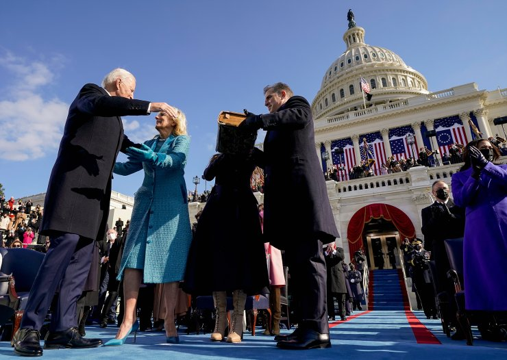 President Joe Biden is congratulated by first lady Jill Biden, his son Hunter Biden and daughter Ashley Biden after being sworn-in during the 59th Presidential Inauguration at the U.S. Capitol in Washington, Wednesday, Jan. 20, 2021. Vice President Kamala Harris applauds at right. AP