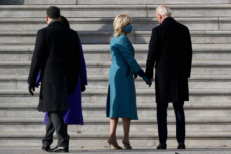 President-elect Joe Biden and his wife Jill Biden arrive at the steps of the U.S. Capitol for the start of the official inauguration ceremonies, in Washington, Wednesday, Jan. 20, 2021. AP