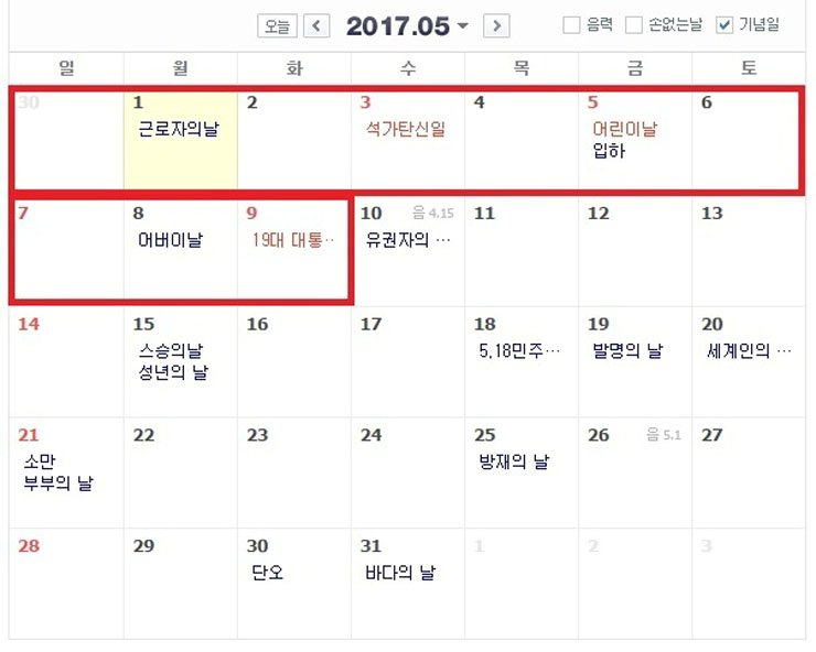 Korea's presidential election on May 9 offers the opportunity for an unprecedented 11-day holiday.