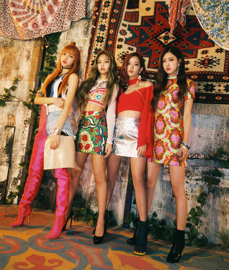 Members of K-pop girl band BLACKPINK, from left, Rose, Lisa, Jennie and Jisoo, talk during the round interview with press at YG Showroom in Mapo, Seoul, Thursday. / Courtesy of YG Entertainment