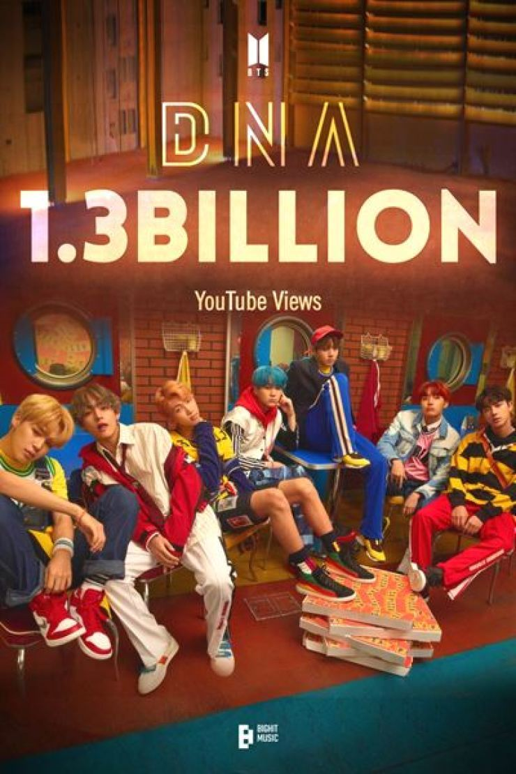 Global superstars BTS has set another record on YouTube, with its music video for the 2017 song 'DNA' earning 1.3 billion views, the band's agency said Saturday. Courtesy of Big Hit Music