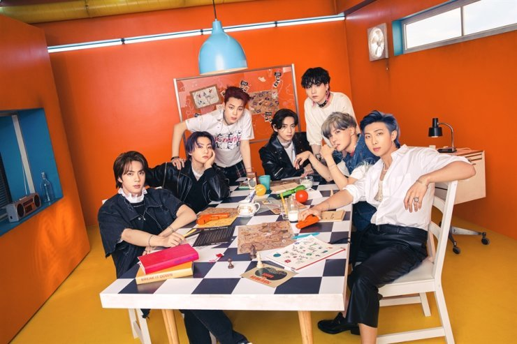 BTS notched platinum-seller certification in Japan with its single 'Butter,' Tuesday. Courtesy of Big Hit Music