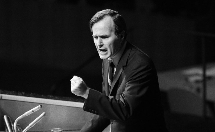 FILE - In this Oct. 18, 1971, file photo, U.S. Ambassador George H.W. Bush gestures as he addresses the United Nations General Assembly during the China debate. He denied the U.S. formula was either a 'Two Chinas' or a 'One China and one Taiwan' plan. AP