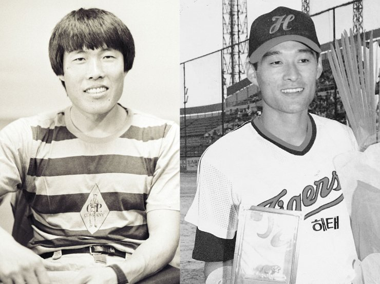 Cha Bum-kun, left photo, is a legend in the German Budesliga league. During his football career there between 1978 and 1989, he scored 121 goals. He and and his son Du-ri are well-known father-son sports stars. Lee Jong-beom, right photo, is called the Son of the Wind,?partly because he was one of the fastest players of his time and established an unrivaled record in stolen bases. He was a two-time MVP of the Korean Series in 1993 and 1997./ Korea Times photo file