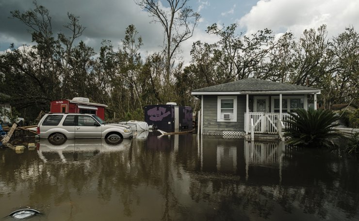 A flooded home from Hurricane Ida in Barataria, Louisiana, USA, 31 August 2021. Hurricane Ida made landfall as a Category 4 storm bring damaging winds and rain to southern Louisiana, knocking out power to the whole area and flooding neighborhoods. EPA