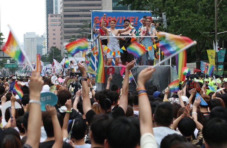 People march in downtown Seoul during the Korea Queer Culture Festival, Saturday. Yonhap