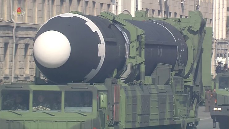Video footage from the North's Korean Central Television (KCTV) shows the Hwasong-15 intercontinental ballistic missile on a transporter erector launcher during a military parade marking the 70th anniversary of the regime's founding of its armed forces, in Pyongyang, Thursday. / Yonhap