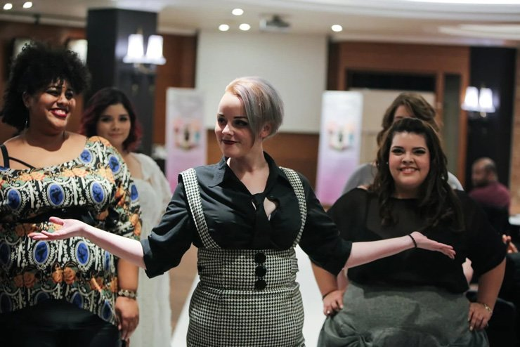 Plus-sized models chat at a fashion show in Crown Hotel in Itaewon, Seoul, in late December. / Courtesy of Kelly Frances