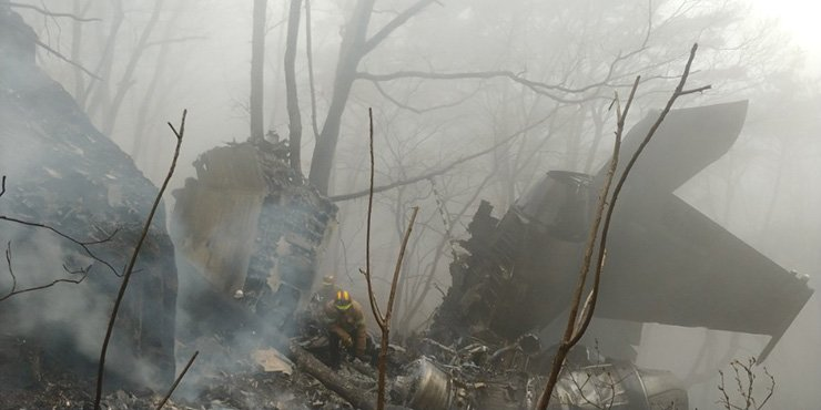 <span>The debris of the F-15K is scattered on a mountain in Chilgok, North Gyeongsang Province, Thursday. / Yonhap</span><br /><br />