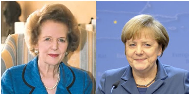 From left, Margaret Thatcher, Angela Merkel