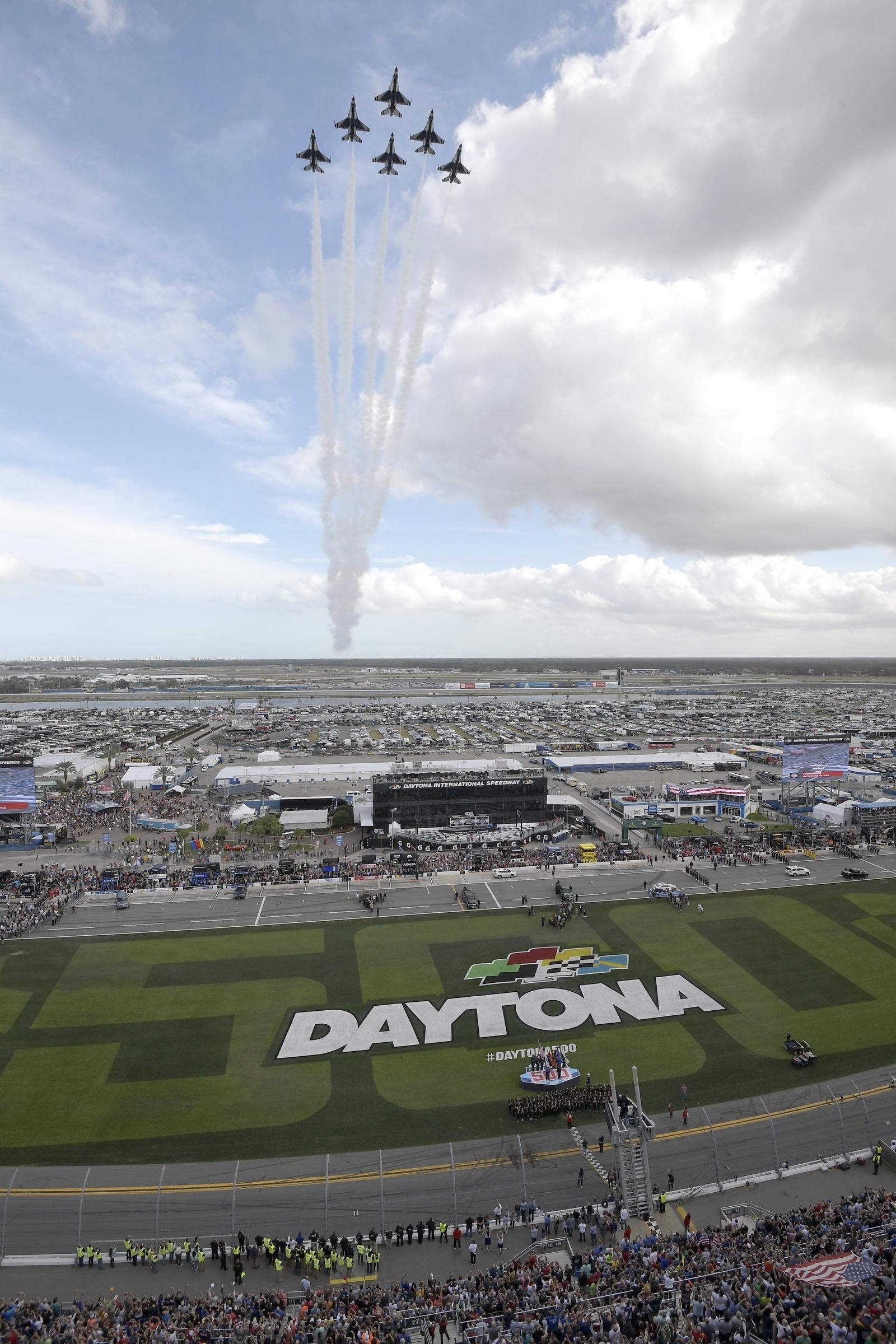 The United States Air Force Thunderbirds perform a flyover during the singing of the national anthem before the NASCAR Daytona 500 auto race at Daytona International Speedway, Sunday, Feb. 16, 2020, in Daytona Beach, Fla. AP