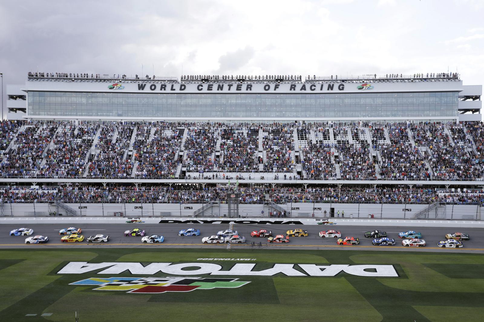 Drivers take the green flag to start NASCAR Daytona 500 auto race Sunday, Feb. 16, 2020, at Daytona International Speedway in Daytona Beach, Fla. AP