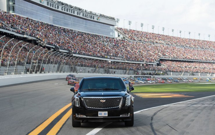 US President Donald Trump rides in his limousine, known as 'the Beast,' as it took off at 3:11 pm ET on the  Daytona International Speedway trailed by today's NASCAR race cars during the Daytona 500 race on February 16, 2020 in Daytona, Florida. AFP