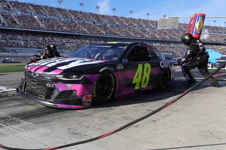 Jimmie Johnson, driver of the #48 Ally Chevrolet, pits during the NASCAR Cup Series 62nd Annual Daytona 500 at Daytona International Speedway on February 17, 2020 in Daytona Beach, Florida. AFP
