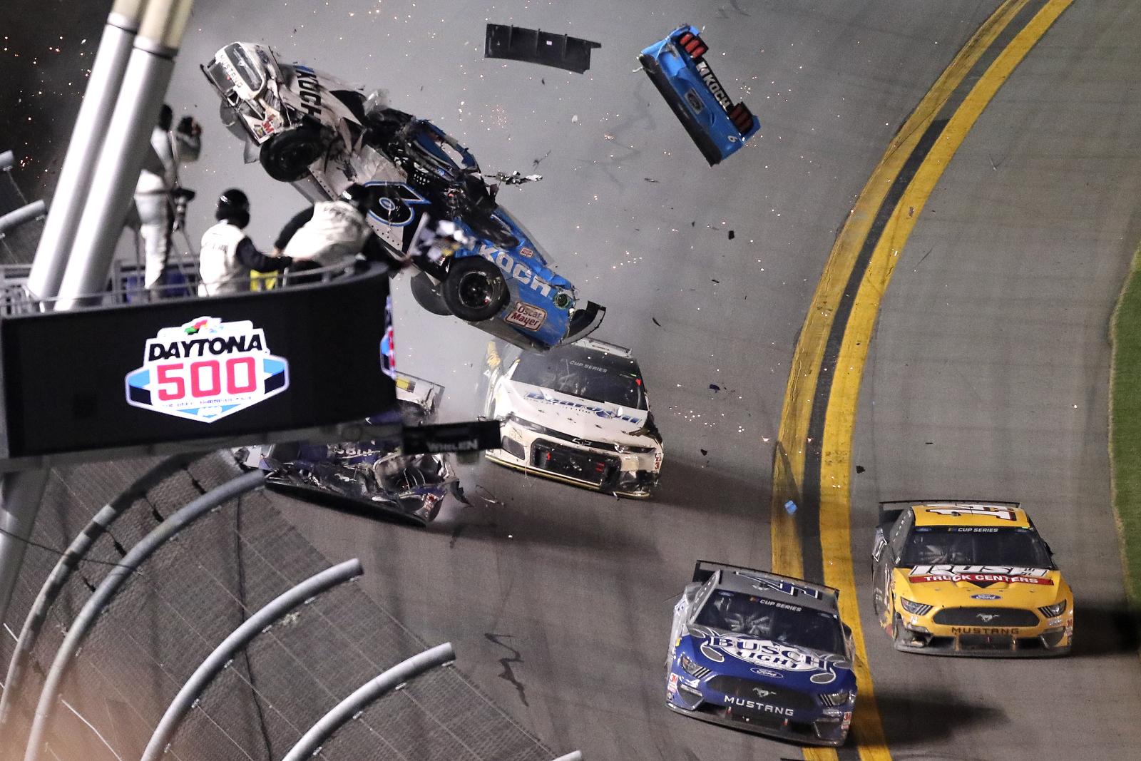 Ryan Newman (6) crashes on the last lap of the NASCAR Daytona 500 auto race at Daytona International Speedway, Monday, Feb. 17, 2020, in Daytona Beach, Fla. AP