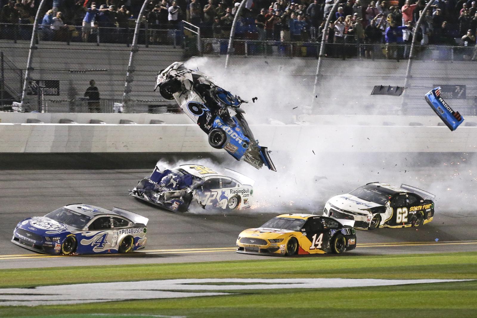 Ryan Newman (6) goes airborne as he collided with Corey LaJoie (32) on the final lap of the NASCAR Daytona 500 auto race at Daytona International Speedway, Monday, Feb. 17, 2020, in Daytona Beach, Fla. Sunday's race was postponed because of rain. AP