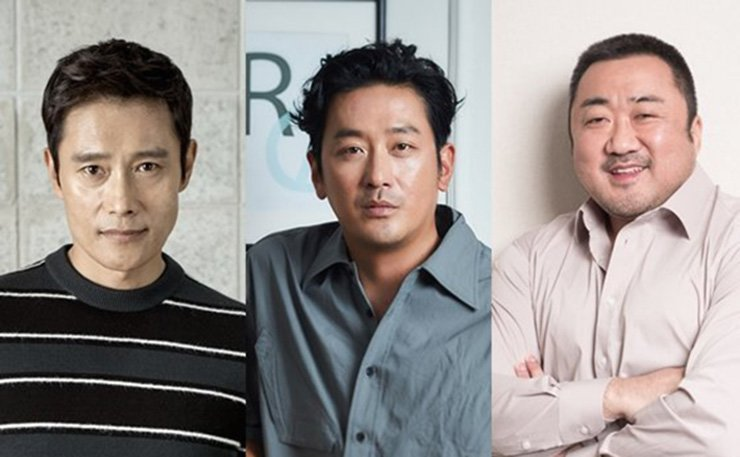 From left are actors Lee Byung-hun, Ha Jung-woo and Ma Dong-seok, who will star in the new sci-fi film 'Mount Paektu.' Yonhap