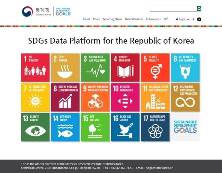 Image capture of the main page of SDGs data platform operated by Statistics Korea. Courtesy of Statistics Korea