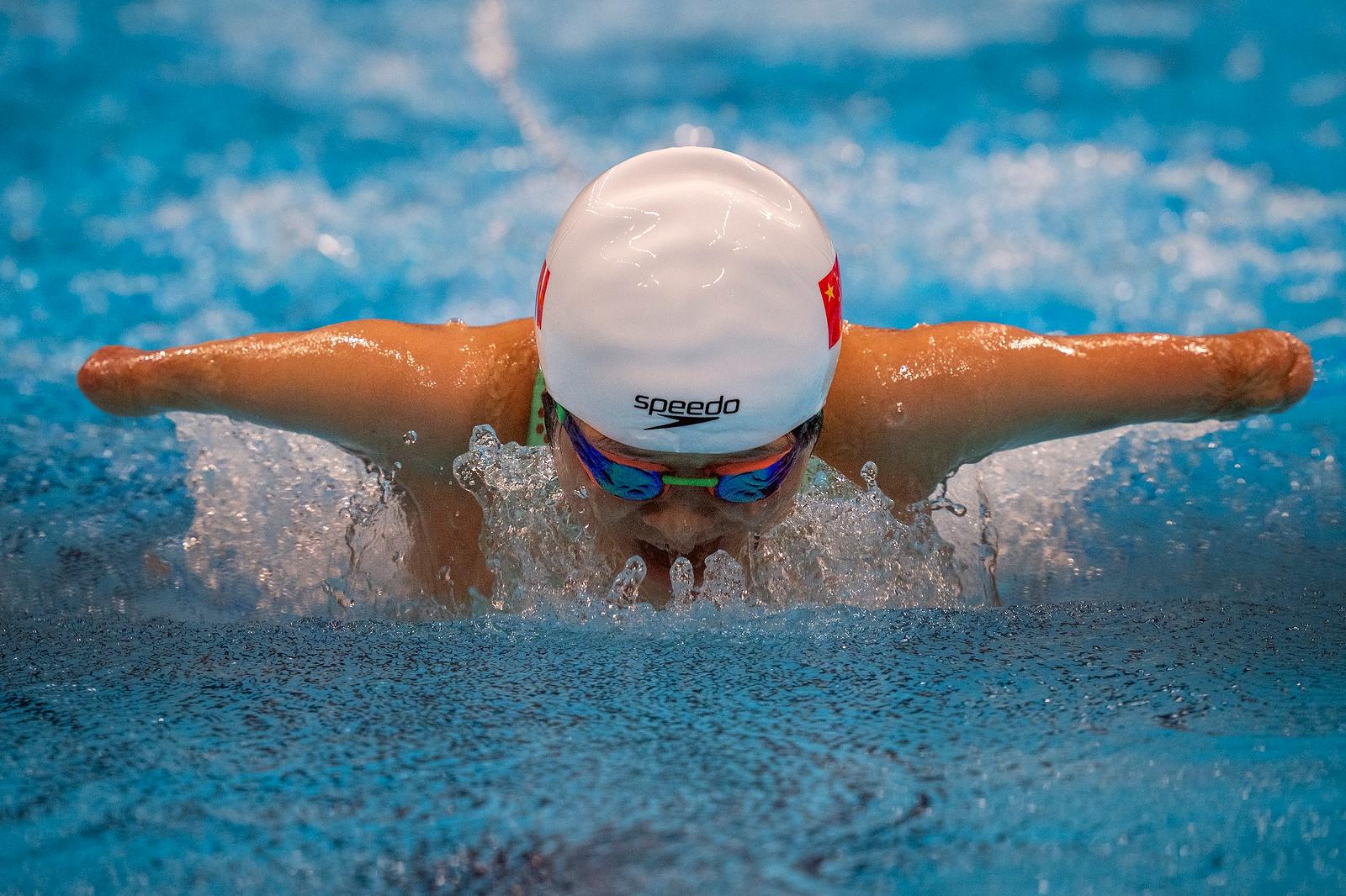 Daomin Liu competes at Women's 200m Individual Medley - SM6 Heat 1 at the Tokyo Aquatics Centre during the Tokyo 2020 Paralympic Games, Thursday, Aug. 26, 2021, in Tokyo, Japan. AP