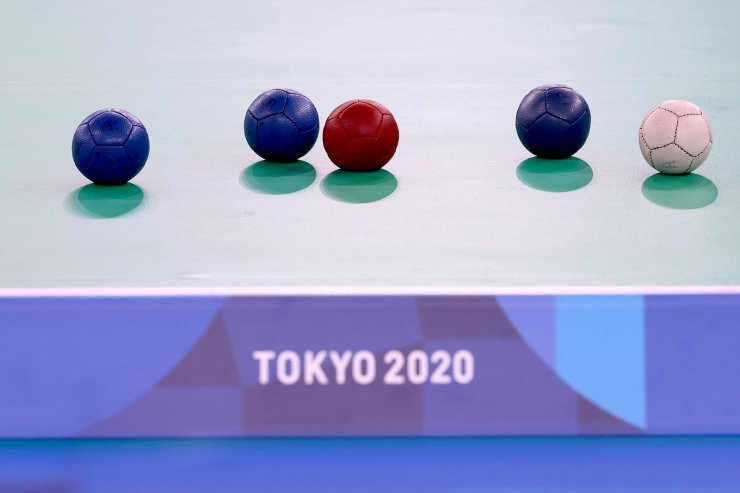 Boccia balls are seen on the playing area in the boccia individual BC1 class during the Tokyo 2020 Paralympic Games at Ariake Gymnastics Centre in Tokyo on August 29, 2021. AFP