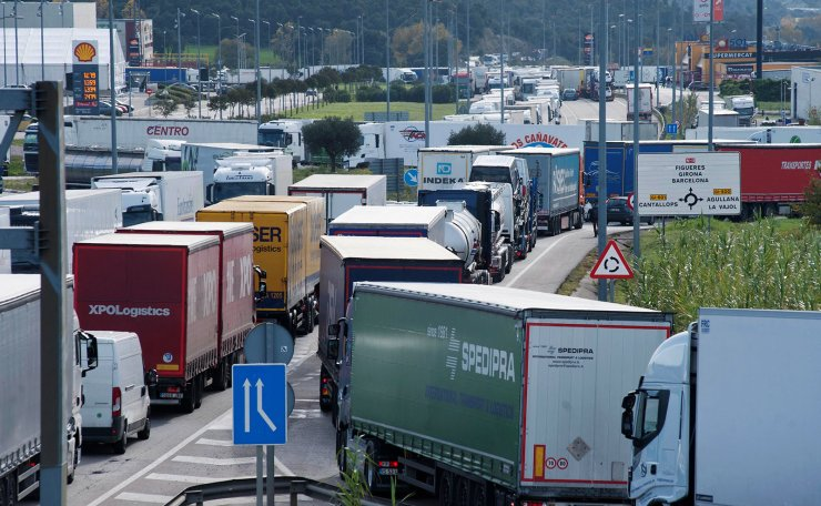 Thousands of trucks are stuck in a 14 km long traffic jam at the AP-7 highway between La Jonquera and Campmany as a consequence of the 'Yellow Vest' protests in France against the rise of fuel prices, in Girona, northeastern Spain 03 December 2018. EPA