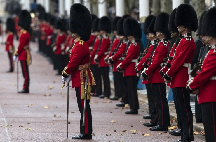 Soldiers line The Mall ahead of Britain's Queen Elizabeth II leaving Buckingham Palace to attend the Opening of Parliament in London, Britain, 14 October 2019. The Queen read a speech from the throne in the House of Lords and open Parliament. EPA