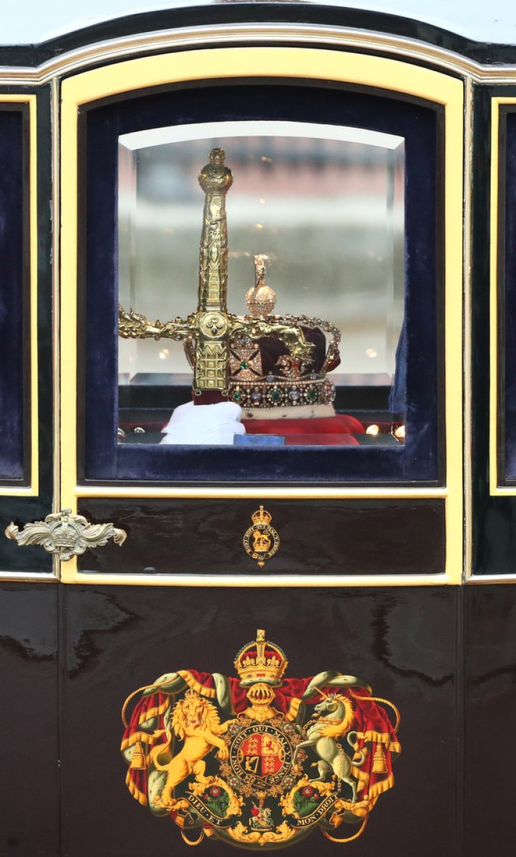 Britain's Queen Elizabeth's crown is driven to the State Opening of Parliament in London, Britain October 14, 2019. REUTERS