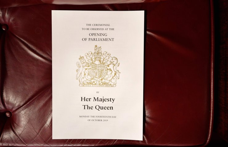 An order of ceremony sheet is seen on a seat ahead the State Opening of Parliament in the Houses of Parliament in London on October 14, 2019. - The State Opening of Parliament is where Queen Elizabeth II performs her ceremonial duty of informing parliament about the government's agenda for the coming year in a Queen's Speech. AFP