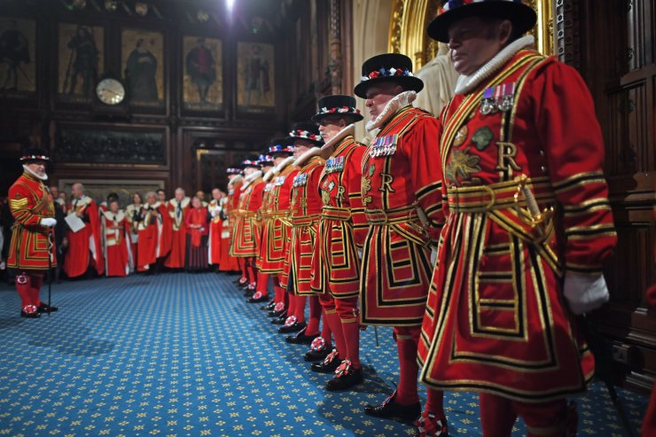 Yeomen of the Guard during the ceremonial search of the Palace of Westminster ahead of the State Opening of Parliament in the Houses of Parliament in London on October 14, 2019. AFP