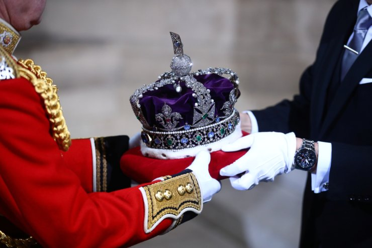Britain's Queen Elizabeth's crown is carried to the State Opening of Parliament in London, Britain October 14, 2019. REUTERS