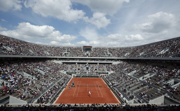 A genral view of the new built Court Philippe Chatrier as Rafael Nadal of Spain (back) plays Yannick Hanfmann of Germany during their men's first round match during the French Open tennis tournament at Roland Garros in Paris, France, 27 May 2019. EPA