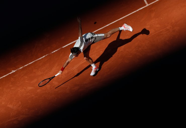 Roger Federer of Switzerland competes during the men's singles third round match with Casper Ruud of Norway at French Open tennis tournament 2019 at Roland Garros, in Paris, France on May 31, 2019. Xinhua