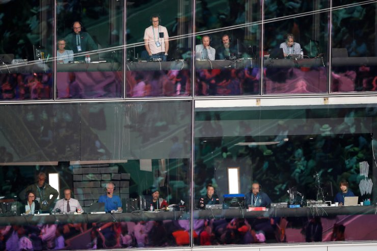 Journalists watch the semifinal match of the French Open tennis tournament between Serbia's Novak Djokovic and Austria's Dominic Thiem at the Roland Garros stadium in Paris, Saturday, June 8, 2019. AP