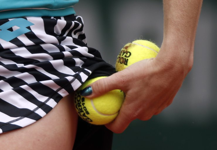 Katerina Siniakova of the Czech Republic prepares to serve to Madison Keys of the USA during their women's round of 16 match during the French Open tennis tournament at Roland Garros in Paris, France, 03 June 2019. EPA