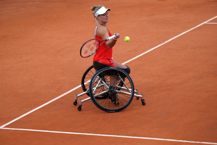 Netherlands' Diede de Groot plays a shot against Japan's Yui Kamiji during the women's wheelchair singles final match of the French Open tennis tournament at the Roland Garros stadium in Paris, Saturday, June 8, 2019. AP