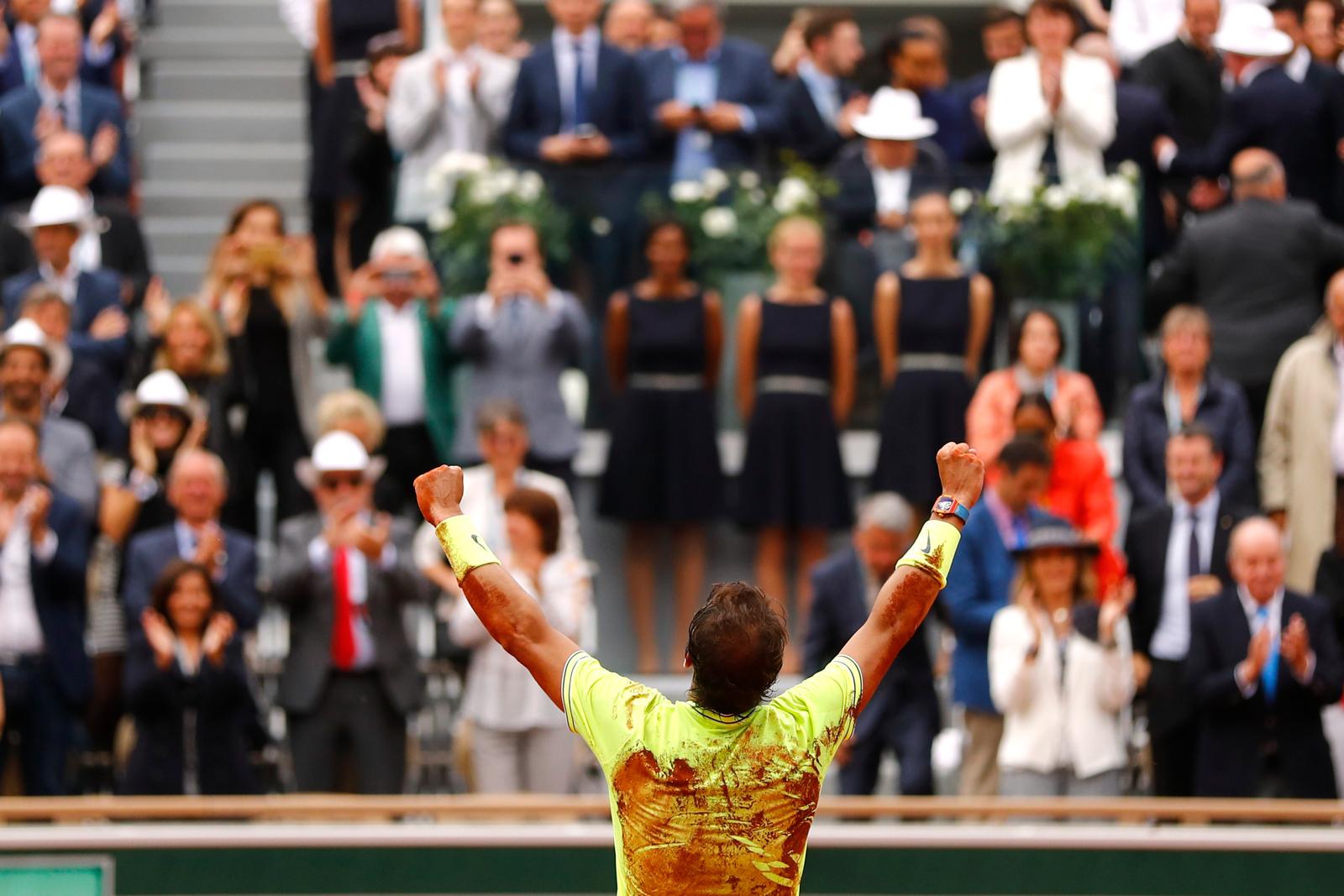 Spain's Rafael Nadal celebrates after his final match against Austria's Dominic Thiem. Reuters